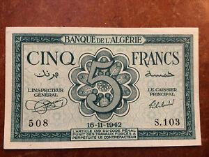 Billet de banque, Algérie, 5 francs, type 1942, époque 1942, comme neuf.