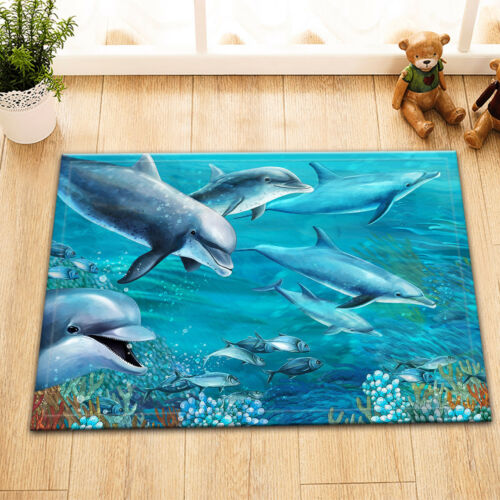 """Ocean Dolphin Fish Reef Bath Mat Bathroom Rug Non-Slip Home Decor Carpet 24x16/"""""""