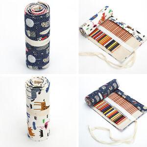 Unisex Canvas Wrap Roll Up 36/48/72 Hole Pencil Case Pen Brush Bag Storage Pouch