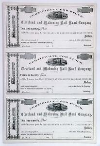 CIVIL-WAR-Era-Uncut-Sheet-186x-Cleveland-amp-Mahoning-Railroad-OH-Certificates-VF
