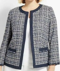 NWT $189 TALBOTS BLUE CHAMBRAY TRIMMED INDIGO BLUE TWEED JACKET 24W
