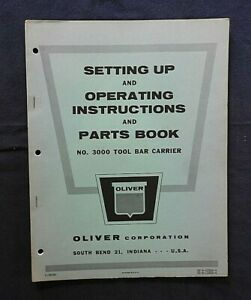 "1950's OLIVER ""NUMBER 3000 TOOL BAR CARRIER"" PARTS CATALOG MANUAL NICE"