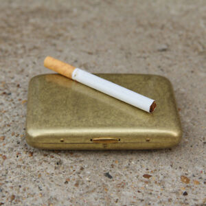 Vintage-Solid-Brass-Copper-Cigarette-Case-Holder-Box-Collectable-Xmas-Gift