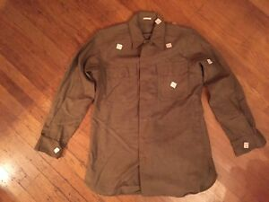 NOS-Original-Ww2-World-War-2-Wwll-US-Army-Wool-Flannel-Shirt-15-1-2-34-date-1942