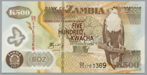 """Alert Sambia Coins & Paper Money Zambia 500 Kwacha 2003 Pick 43a Polymer """"serie Da/03"""" Bracing Up The Whole System And Strengthening It Paper Money: World"""