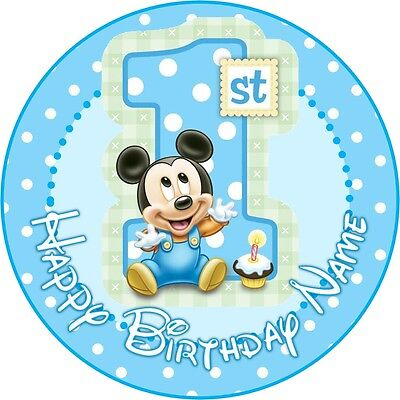 Outstanding Edible Baby Mickey Mouse Cake Topper 1St Birthday Wafer Paper 7 5 Funny Birthday Cards Online Alyptdamsfinfo