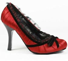 Red Black Satin Pleated High Stiletto Heel Pump 5 us Wild Diva Girl-15