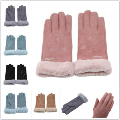 Cartoon Cat Pattern Embroidery Thermal Elegant Gloves Winter Touch Warm Glove MA