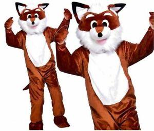 mens ladies fancy dress costume One Size MR FOX WITH BIG HEAD ANIMAL MASCOT