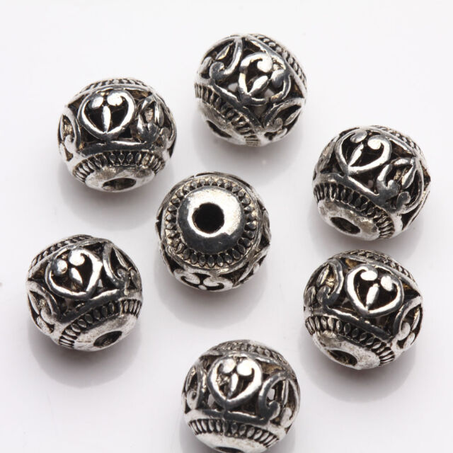 10/20Pcs Tibet Silver Fun Jewelry Making Findings Loose Spacer Beads Charms 8mm