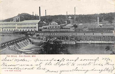 Old Postcard 1911 Eau Claire Wis Dam Eau Claire River   eBay
