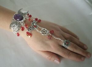 Details about Fire Opal Pentacle Hand Chain Slave Bracelet wiccan pagan  wicca witch witchcraft