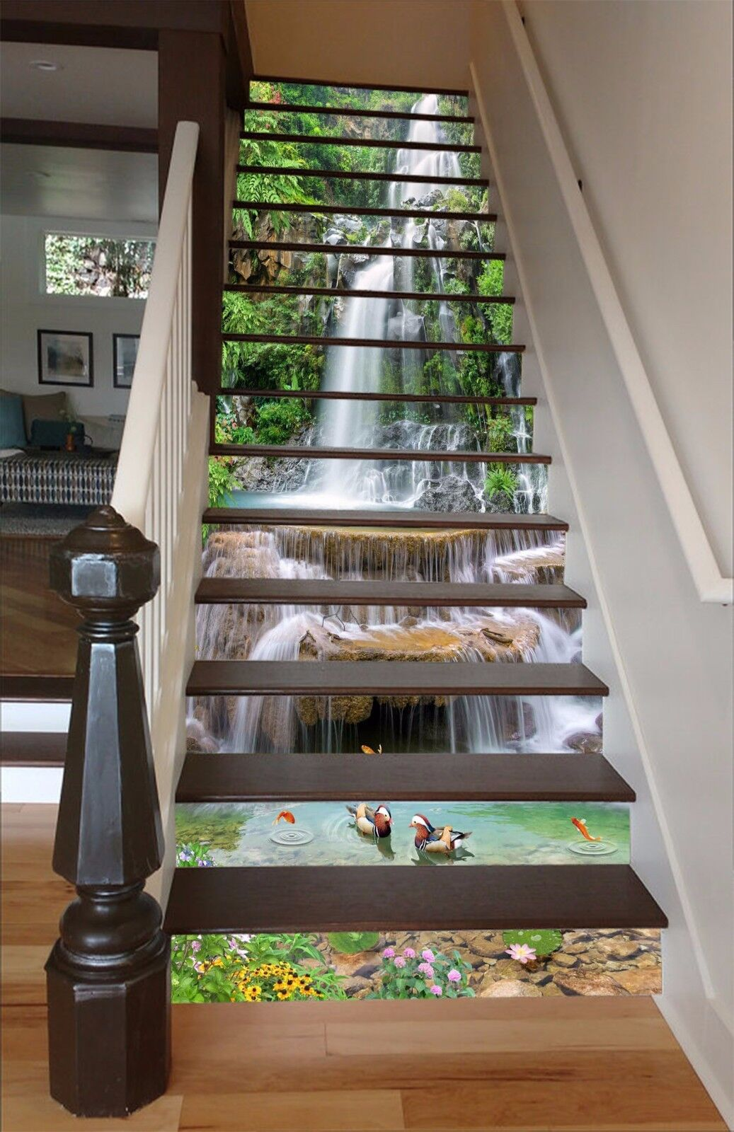 3D Waterfall pond7 Stair Risers Decoration Photo Mural Vinyl Decal Wallpaper UK