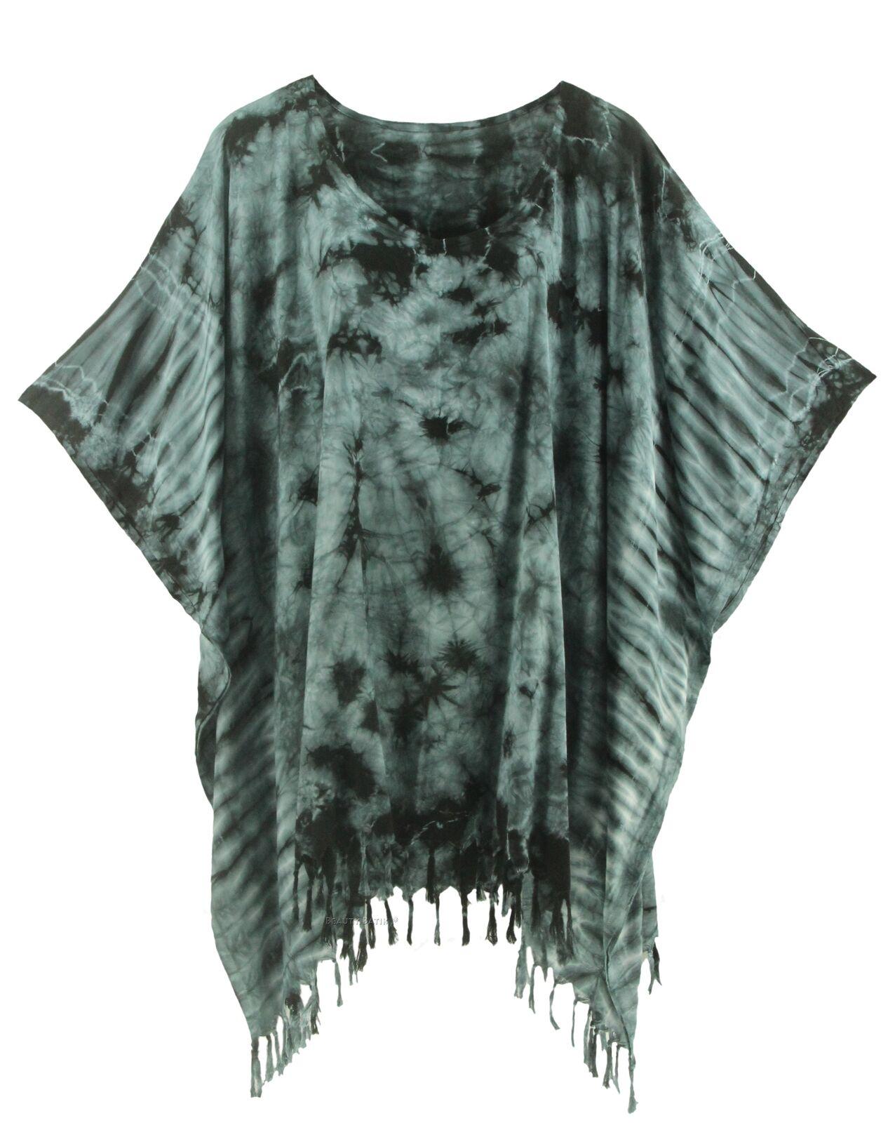 BeautyBatik Grey Womens BOHO HIPPIE Batik Tie Dye Tunic Blouse Kaftan Top 3X
