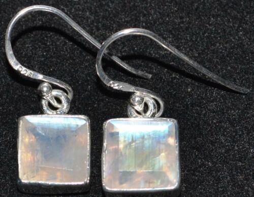 Rainbow Moonstone Drop Earring Emerald cut Sterling SILVER  Earrings Jewellery