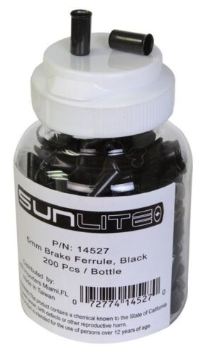 Black Bottle of 200 Brake Sunlite Cable Ferrules 5mm