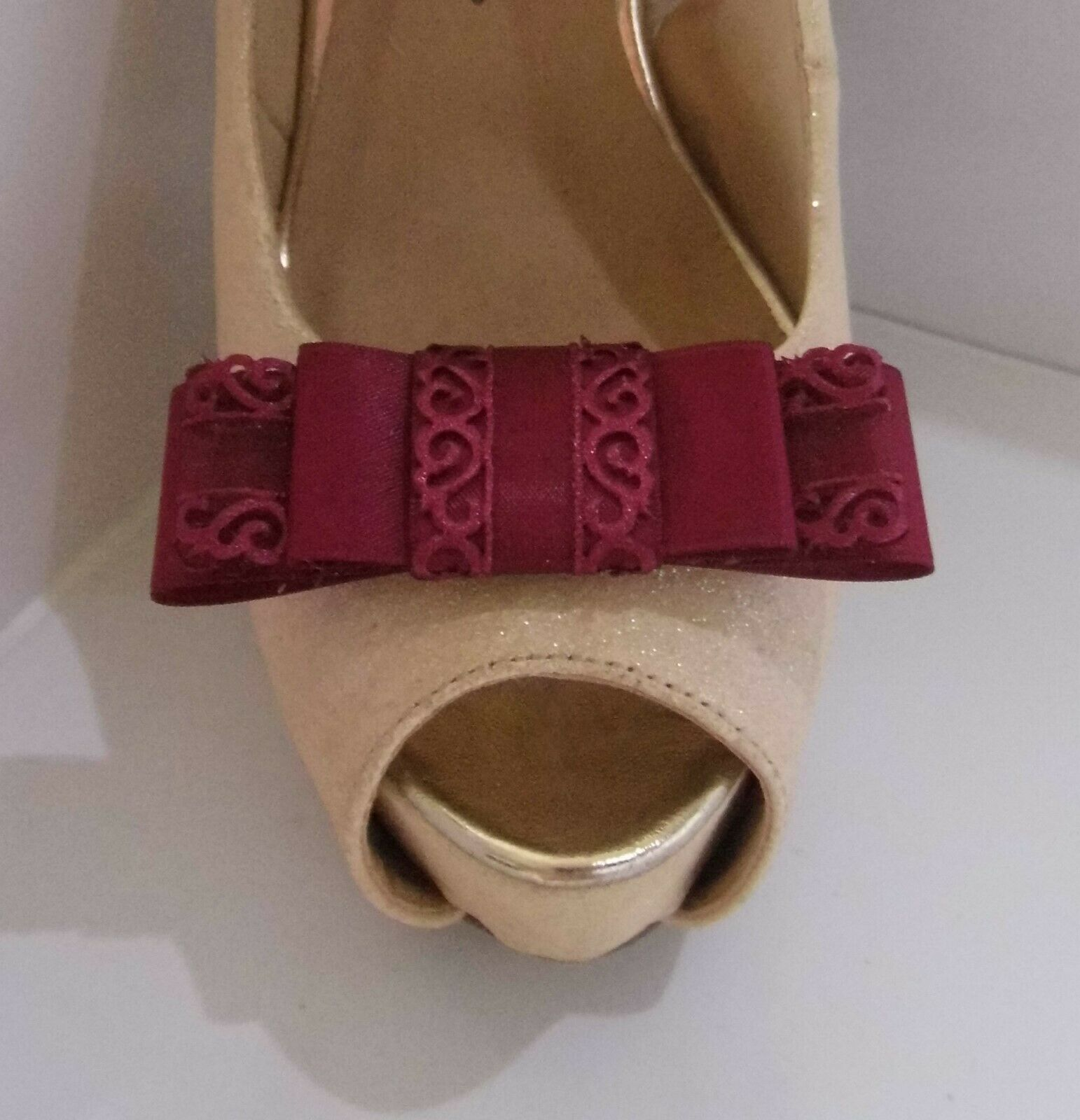 2 Burgundy Red Triple Bow Clips for Shoes with Filigree Edge