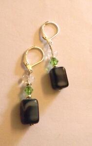 1 Paar Ohrringe Silber-schwarz Mamoriert-grün - Echt Handarbeit - Neu Geschenk