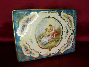 Vintage-WESTON-039-S-QUALITY-BISCUITS-TIN-Romantic-Baroque-pattern-Food-Advertising