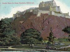 OLD POSTCARD - EDINBURGH - Castle Rock and Ross Fountain - c1910