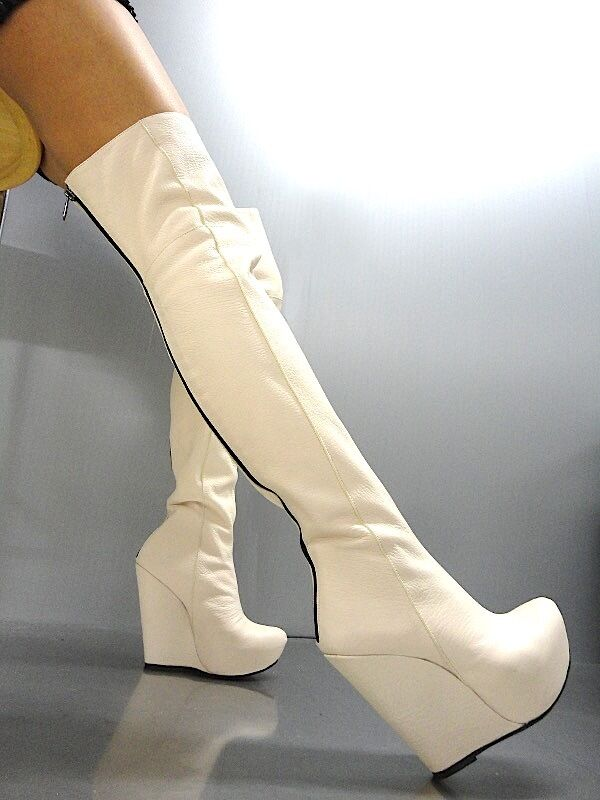 MORI WEDGES NEW OVERKNEE PLATFORM BOOTS STIEFEL STIVALE BOTAS LEATHER NUDE BEIGE