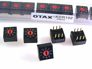 Otax KDR102 PCB Mount Rotary Switch 0 to 9 Slotted 5 pieces OM0545