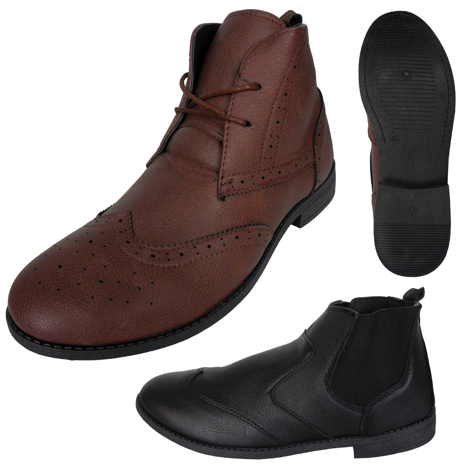 Mens Brogue Chelsea Ankle Boots Faux Leather Brogues Pull On Boot Shoes New