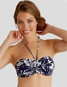 Ladies-Figleaves-Tobago-Bandeau-Bikini-Top-Navy-Blue-White-Floral-30D-30DD-NEW