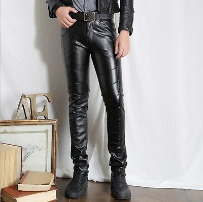 Fashion Mens PU Leather Skinny Slim Fit Pants Black Motorcycle Biker Trousers SZ