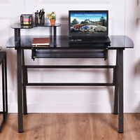Glass Top Computer Desk W/printer Shelf Pc Laptop Table Workstation Metal Frame