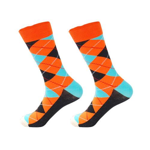 NEW Mens Cotton Socks Funny Colorful Argyle Diamond Novelty Dress Socks For Gift