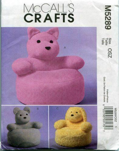 McCalls Crafts Sewing Pattern 5289 Toddlers Animal Chairs Teddy Bear