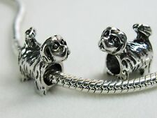 Precious Little Shih Tzu Puppy Dog Charms Tibetan Silver for European Jewelry