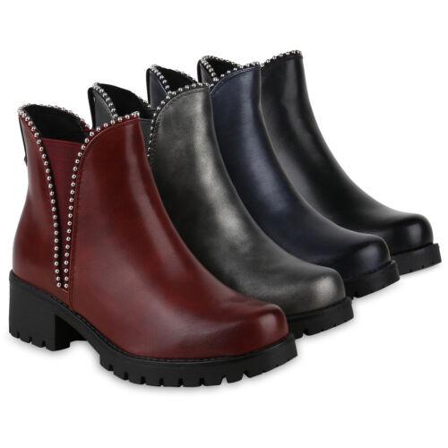 Damen Stiefeletten Modische Chelsea Boots Ketten 823562 Schuhe