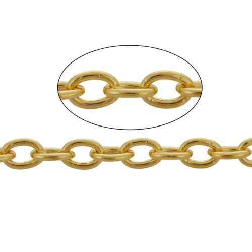 Bulk Chain 32 Feet Gold Tone Oval Link Chain 5mm x 3mm FD148