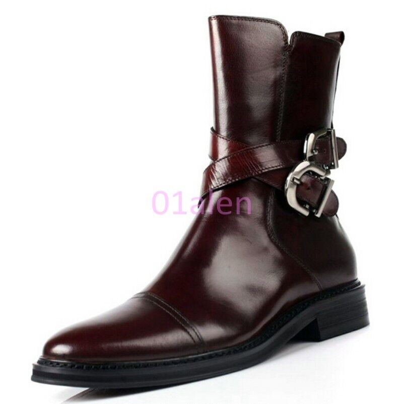 Mens Brogue Vintage Buckles Strappy Belt Ankle Boots Leather Dress Formal shoes