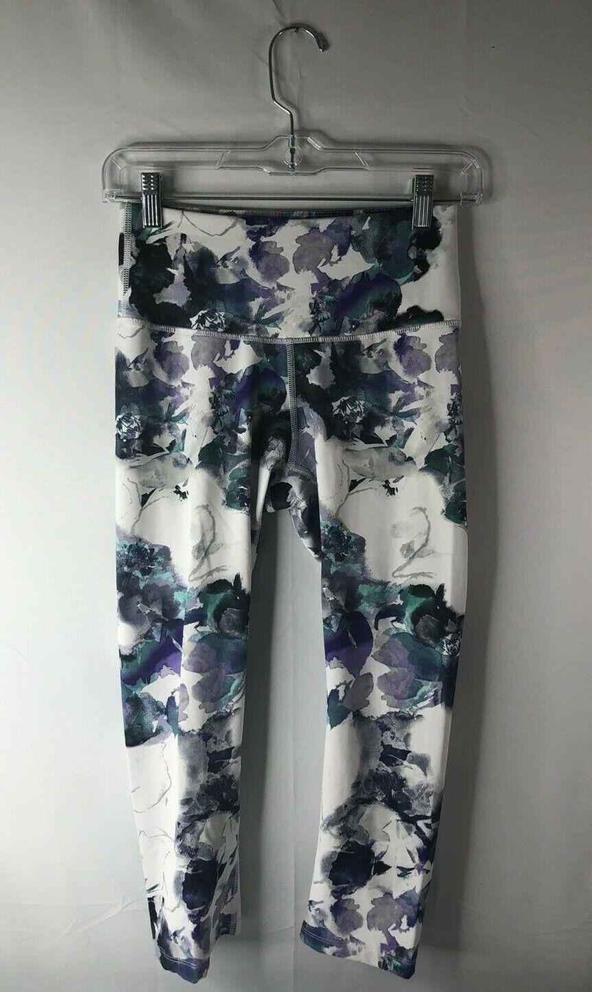 Apana women's size XS cropped athletic/workout pants white w/purple & aqua