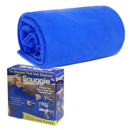 SLEEVED SNUGGIE SUPER SOFT FLEECE BLANKET SNUGGLE WRAP BLUE RED /& BLACK