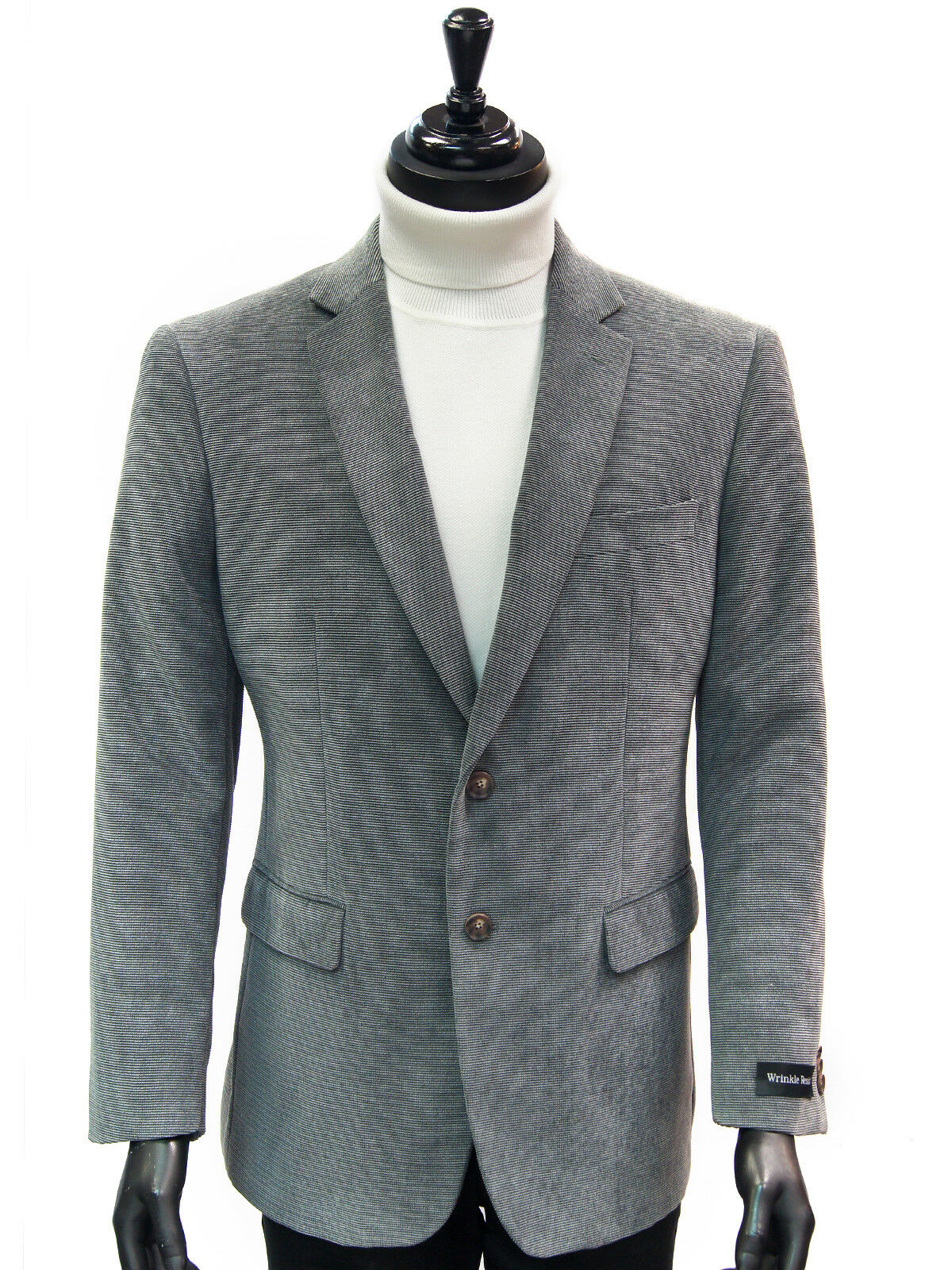 Affazzy Mens grau Chenille Texture Wrinkle Resistant 2 Button Work Casual Blazer