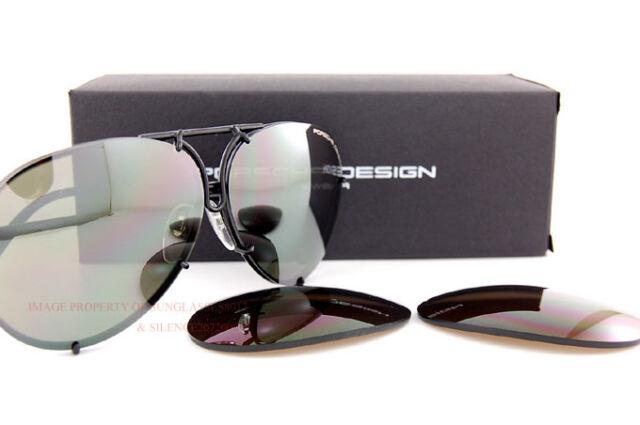 3897dc12ed New Porsche Design Sunglasses P8478 8478 D Black Interchangeable Lenses SZ  66