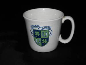 Vintage Good Luck Cup Shamrock Horseshoe Coffee Tea Ceramic Deco