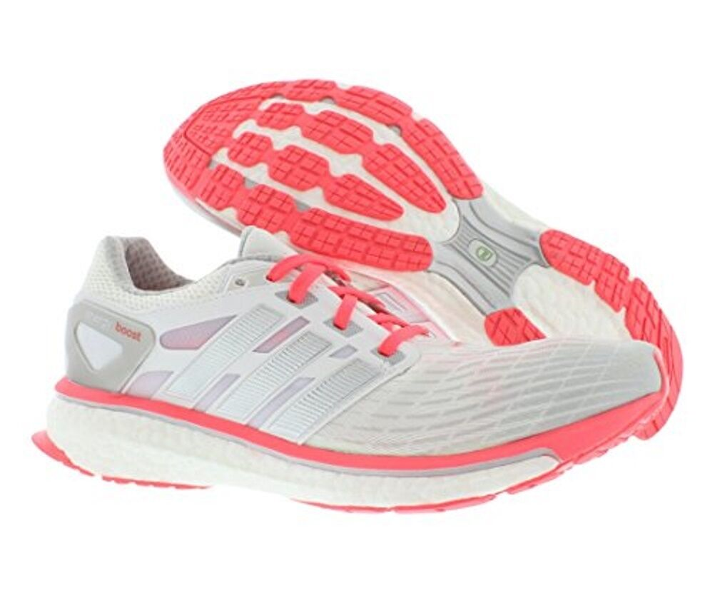 Energy Boost W athletic running shoe white   silver  red zest 10 Med NEW