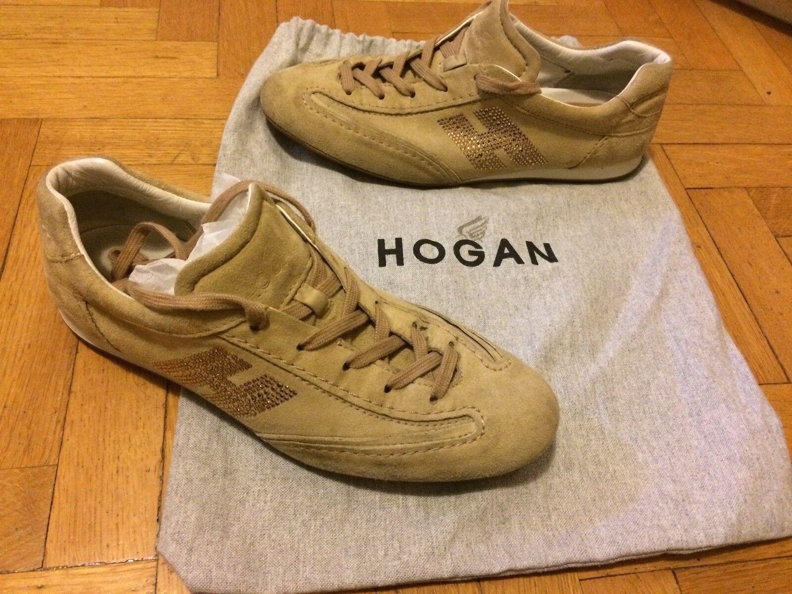 HOGAN 38 sneakers basse camoscio beige con brillantini