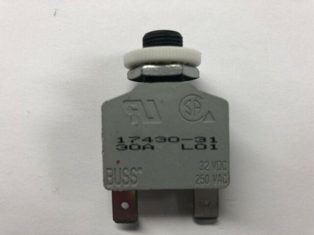 Bussmann 30A 2-Prong Circuit Breaker w// Reset Button 17430-31 NOS