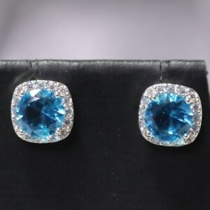 2Ct-Round-Blue-Aquamarine-Diamond-Halo-Earring-Gold-Plated-Jewelry