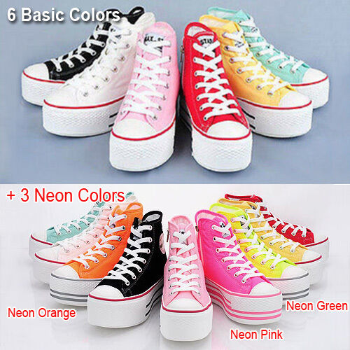 8e5ab951f1b72 MAXSTAR Platform Canvas High Top Zip Sneakers US 6~8 Womens Wedge Shoes