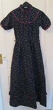 VTG Ladies VERA MONT Navy Floral Tiered Lined Prairie Style Long Dress Size 10