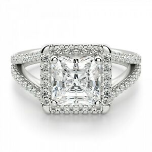 1.60 Ct Princess Moissanite Anniversary Ring 18K Solid White Gold ring Size 7