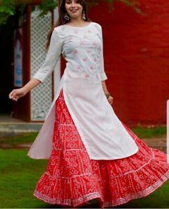 vf17 Women indian kurta kurti Dupatta new Dress anarkali bottom tunic bollywood