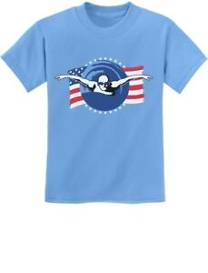 c1efab9e Details about Support USA Swimming Team American Flag Youth Kids T-Shirt  Swimmer